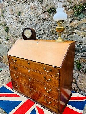 Large George III Solid Oak 4 Drawer flip top Bureau
