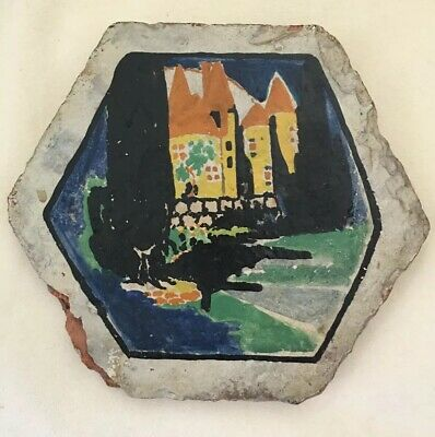 Antique Folk Art Hand Painted Tile from WW1 by Unknown Shell-Shocked Soldier