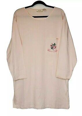 New VTG VICTORIAS SECRET Pink NIGHT Sleep Shirt Gold Label Long Sleeve Cotton Sm