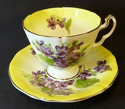 Adderley Bone China Tea Cup And Saucer Violets England