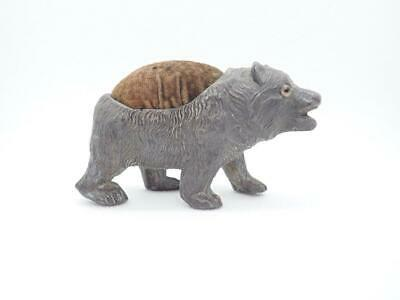 Antique Edwardian Spelter Prowling Bear Pin Cushion with velvet pad glass eyes