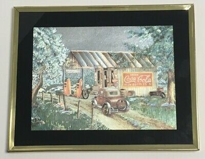 Coca Cola Country Store Martin's Garage Picture Foil Art Matted Framed Print