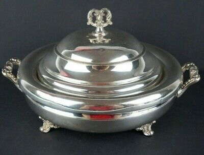Monarch Plate Brand Silver Plate Ornate Serving Dish Covered Footed w/Insert