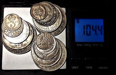 BRITISH SILVER COINS 104g. COLLECT, SCRAP or INVEST.  Please See Photos.