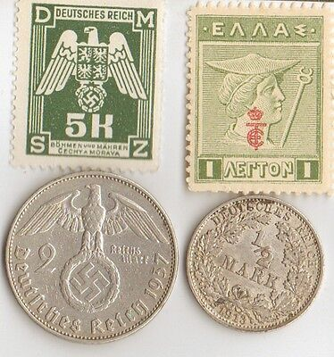 **wwi  and  WWII -  Antique. silver - *german  coin's  + wwi  and  WWII  STAMPS