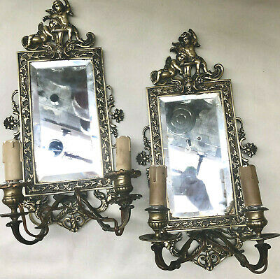 ANTIQUE FRENCH 1880s PAIR OF BRASS CANDLE MIRROR SCONCES, ELECTRIC WALL LIGHTS