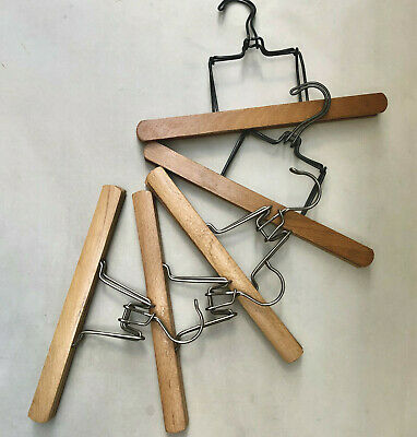 Vintage French 5 Solid Wood Trouser Clothing Hangers For Photography Styling