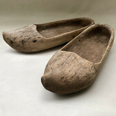 Antique French Pair Of Hand Carved Solid Wood Clogs Shoe Footwear, Country Style