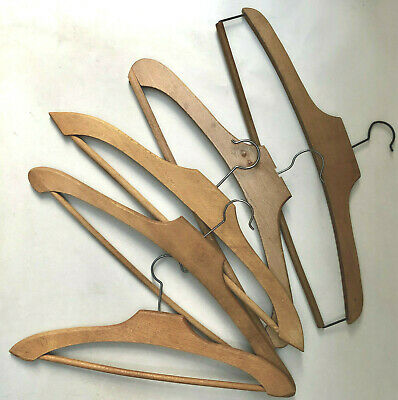 Vintage French Five Wood Assorted Clothing Hangers For Wedding Day Photographs