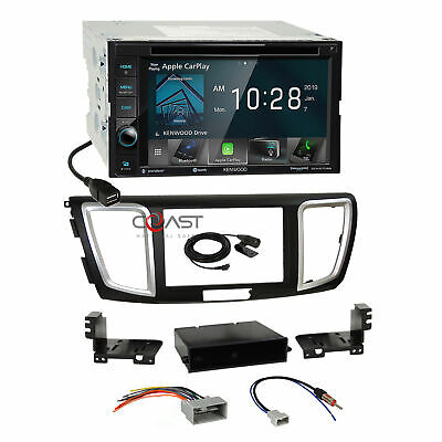 Kenwood DVD USB Sirius Carplay Stereo Dash Kit Harness for 2013-15 Honda Accord