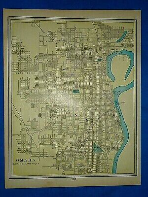 Vintage 1903 MAP ~ OMAHA, NEBRASKA ~ Old Antique Original Atlas Map