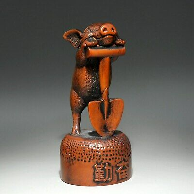 Collectable Old Boxwood Hand-Carved Lovely Hardworking Pig Delicate Decor Statue