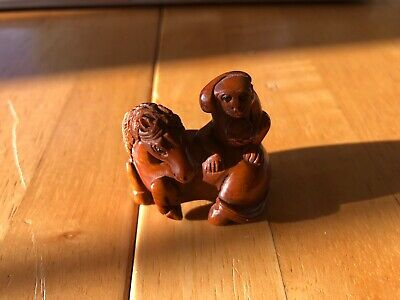 Wooden Horse And Monkey Figurine Hand Carved Vintage