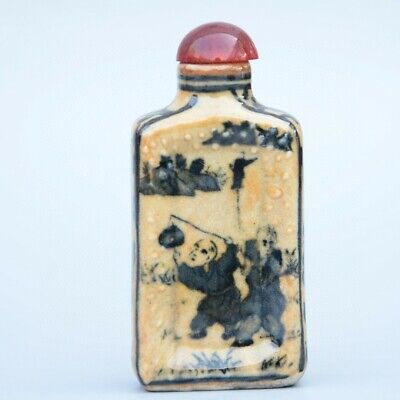 Collect China Old Porcelain Handpainted Fairchild Moral Auspicious Snuff Bottle