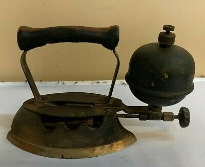 Vintage / Antique Sad Solid Cast Iron Gas Fuel Heated Clothes Iron Wood Handle