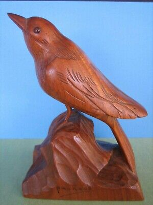 Vintage Folk Art Original Hand Carved Wood Bird Sculpture Artist Signed Pacheco