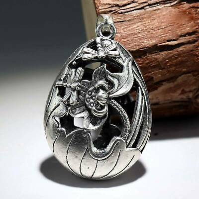 Collect Old Miao Silver Hand-Carved Bloomy Lotus & Dragonfly Pierced Pendant