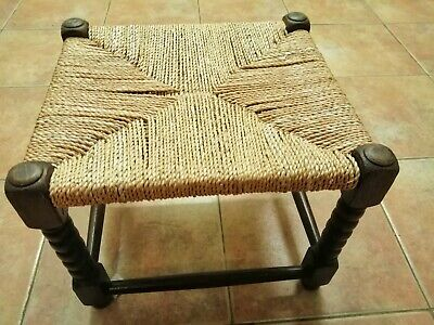 Vintage Stool With Woven Top