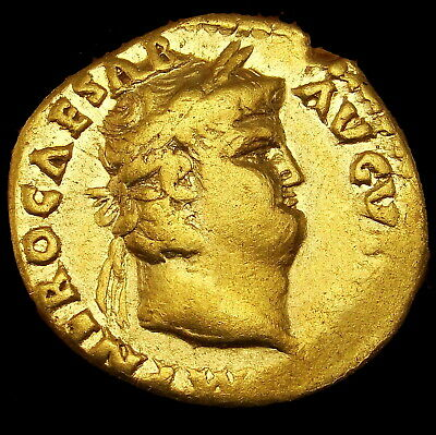 Nero Gold coin Aureus  19 mm, 7.21 g, Rome, c. NERO as CAESAR/ Salus. Roman coin