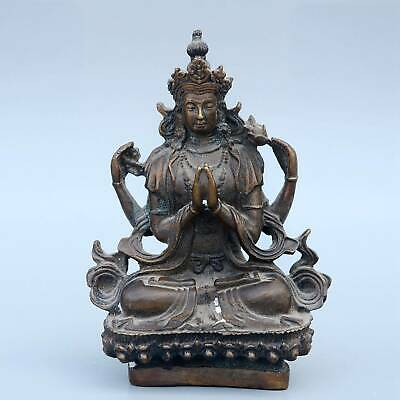 Collect Chinese Old Bronze Hand-Carved Kwan-Yin Buddha Delicate Exorcism Statue