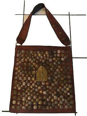 Vintage Moroccan Leather Water Sellers Bag Decorated with European Coins
