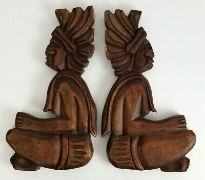 2 Chief Wall Plaques Carved in Wood 10 in. Tall