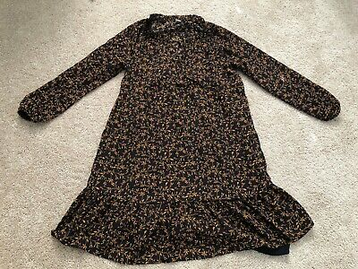 NWOT Women's Old Navy Black Floral Print Long Sleeve Chiffon Dress Small