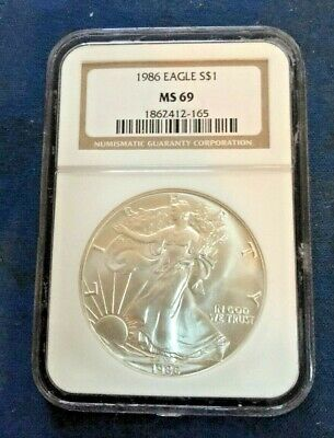 1986 Silver Eagle MS69 NGC Certified Brilliant Uncirculated