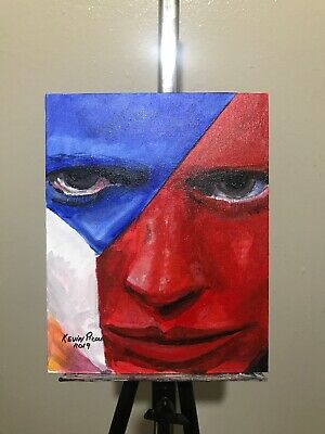 Acrylic Face original Art Painting 8x10 Canvas Panel By Kevin Picou