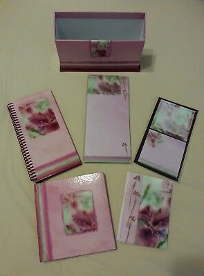 Floral Notecards, Memo Pad, Journals, Sticky Notes with Organizer Box Set