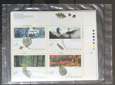 CANADA 1990 # 1286a 'MAJESTIC FORESTS OF CANADA' - SET OF 4 PLATE BLOCKS  MNH