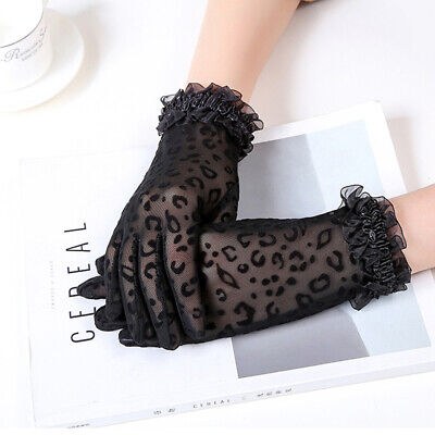 Side Sexy Leopard Mittens Short Gloves Women Gloves Lace Gloves Driving Gloves
