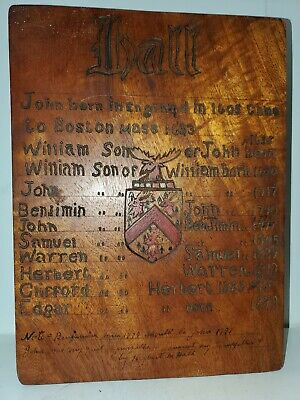 Antique Carved Wood Box Bible Folk Art HALL Family HISTORY Crest (A1)