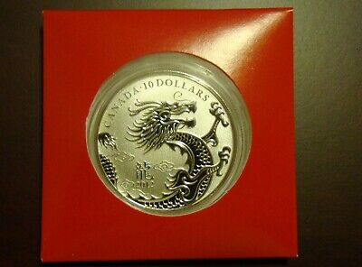 2012 Canada $10 Coin - Year of the Dragon Fine .9999 Silver - As Issued - Lunar