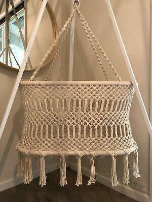 Ollie Ella Macrame Hanging Bassinet With Stand And Mattress