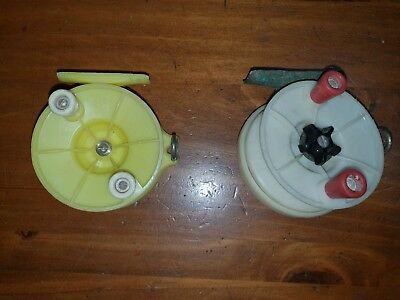 Vintage Academy Fly Reels x 2. Yellow and White