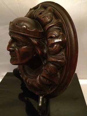 Amazing! Antique 19th.c Hand Carver Wood Head of Nobleman 3D Round Plaque