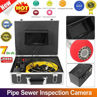 7inch Pipe Inspection Sewer Camera LCD& DVR Video Waterproof 1000TVL Borescope