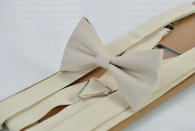 Cream Pearl White Faux Leather Bow tie + Ivory White Elastic Suspeners Brace