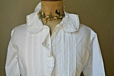 Antique French pure cotton blouse, white work frill, pin tucks