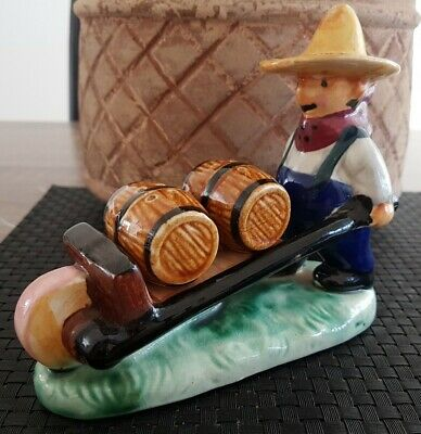 Farmer Salt And Pepper Shakers vintage ceramic retro mexican kitsch