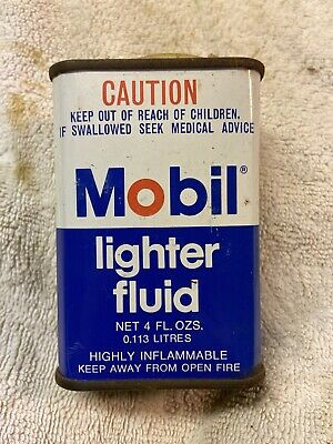Mobil Lighter Fluid Early Household Handy Vintage Oiler Tin