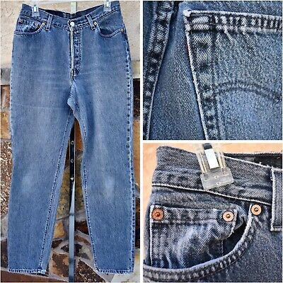 VTG LEVIS 80s Womens HIGH WAIST Blue Jeans 30x31 (Red Tag Remnant) Copper Rivets