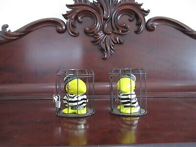 A Pair of Kitsch 1950s Jail House Penguin Money Boxes in Cages