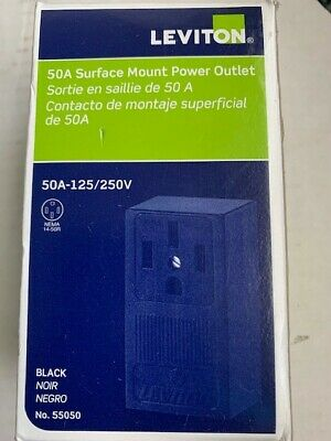 Leviton 55050 50A Surface Mount Power Outlet Black 50A-125/250V - NEW IN BOX