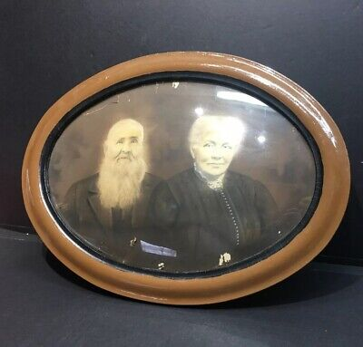 Vintage Oval Convex Bubble Glass Frame with Victorian Old Couple Photograph