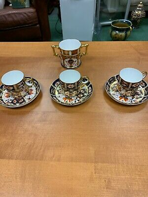 Royal Crown Derby Old Imari 1128 Twin Handled Mug 1st Qusl 22ct Gold