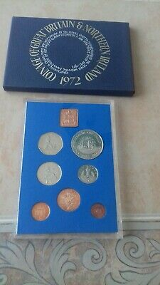 1972 Royal Mint UK Proof Coin Set Elizabeth & Philip Wedding Anniversary Crown