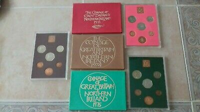 1973, 1974, 1975 Royal Mint Proof Coin Year Sets - Toned