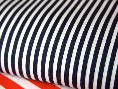 Navy Blue white 3mm candy Stripe 100% COTTON for dress craft patchwork bunting